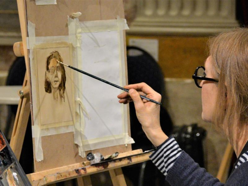 Demostració de pintura amb Carmen Mansilla
