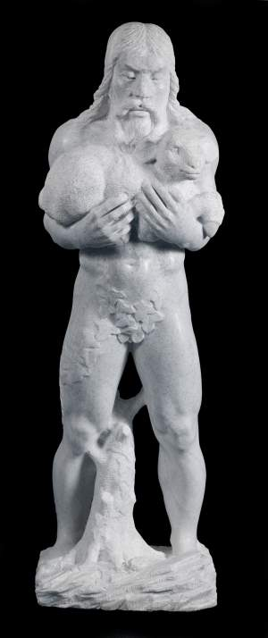 'Man with the lamb',   ( Marble, 115 x 37 x 27 )