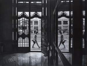 'View from indoors', Fausto Martín ( Charcoal on board, 146 x 110 cm )
