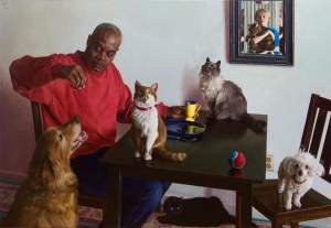 'Cats and Dogs', Wim Heldens ( Óleo sobre tela, 101 x 147 cm )