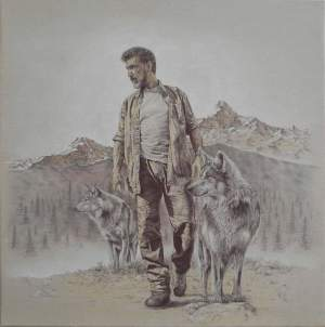 'Walking with my wolves', Gabriele Erno Palandri ( Ballpoint pen & pastel on canvas, 80 x 80 cm )