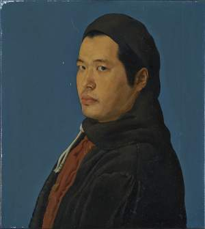 'Selfportrait as Annigoni', Chao Ma ( Oil on canvas, 40 x 40 cm )
