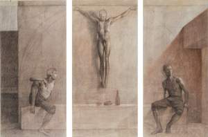 'Crucified sketch', Aldo Bahamonde Bahamonde ( Drawing, 160 x 120 cm )