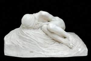 'Jeune femme éplorée sur un rocher', ALBERT BARTHOLOME ( , Altura: 29 cm )