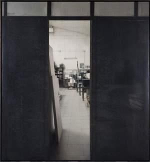 'El taller de Grabado', Carlos Morago ( Óleo sobre tabla, 195 x 195 cm )