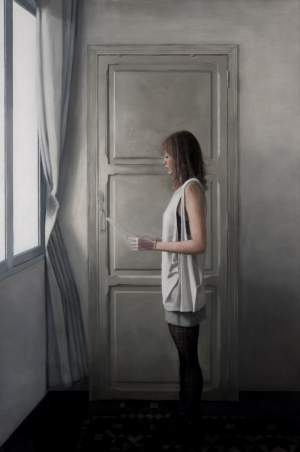 'Girl reading a letter at an open window 2', Daniel González Coves ( oil on canvas, 180 x 120 )