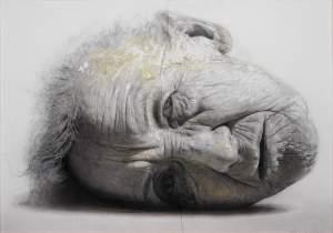 'Retrato de Insomnio',  Golucho                  ( Técnica mixta sobre tabla, 120 x 170 )