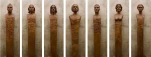 'Heremai (grupo escultórico)', Jorge Egea Izquierdo ( Terracota policromada y hierro, 190 x 40 x 30 c/pieza )