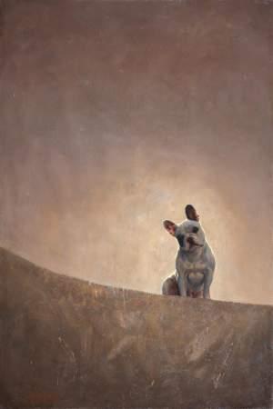 'Atardecer con perro escabullido', Jorge Izquierdo Vera           ( Óleo sobre lienzo, 195 x 130 )