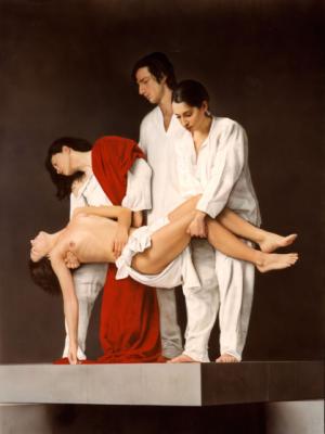 'El entierro de la verdad', Juan Manuel Cossío                   ( Aerógrafo sobre tabla, 165 x 120 cm )