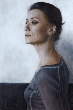 'Ballerina', Marcos Rey ( Carboncillo y pastel blanco sobre tabla, 60 x 40 cm )
