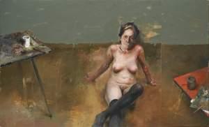 'Cuando el deseo recogido', Paco Lafarga ( Oil on board, 85 x 140 cm )